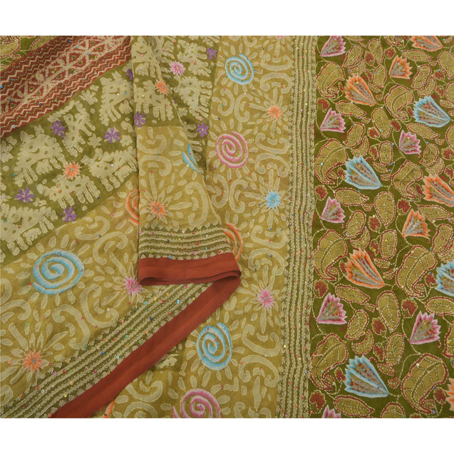 Green Saree Georgette Fabric Craft Hand Embroidery Kantha Sari