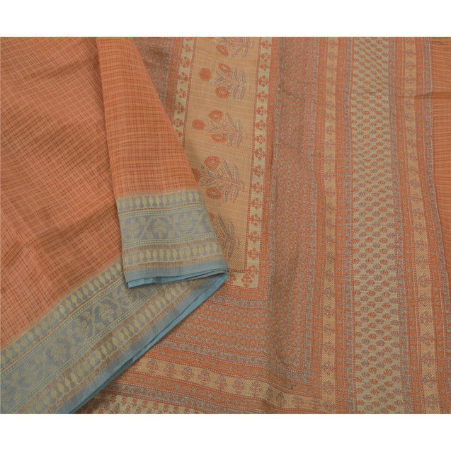 Peach Saree Blend Silk Printed Craft 5 Yd Fabric Kota Sari