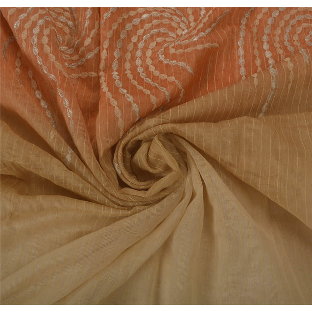 Cream Saree Blend Silk Embroidery Craft 5 Yd Fabric Woven Sari