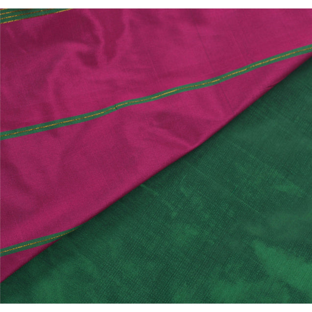 Sanskriti Vinatage Green Saree Art Silk Woven Craft Fabric Premium Zari Sari