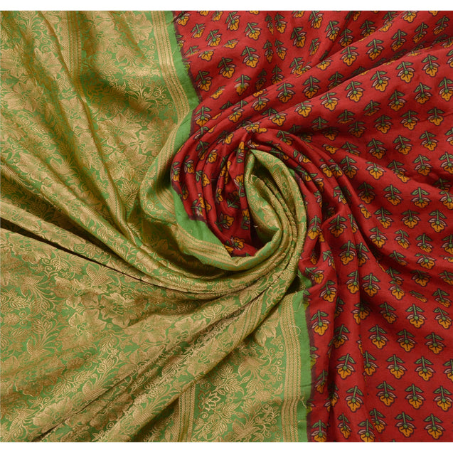 Sanskriti Vintage Dark Red Saree 100% Pure Silk Woven Craft Fabric 5 Yard Sari