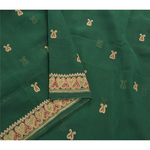 Sanskriti Vintage Green Sarees Georgette Hand Beaded Premium Sari Craft Fabric