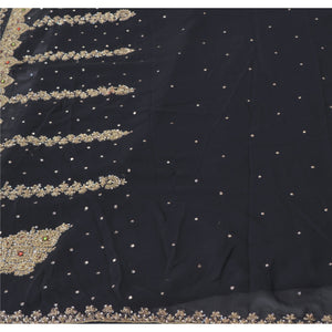 Sanskriti Vintage Black Indian Sari Georgette Hand Beaded Sarees Cultural Fabric