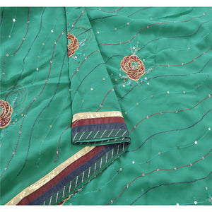 Sanskriti Vintage Green Sarees Georgette Embroidered Fabric Sari Blouse Piece