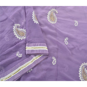 Sanskriti Vintage Purple Sarees Georgette Fabric Bollywood Sari Blouse Piece