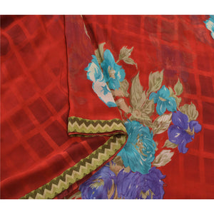 Sanskriti Vintage Red Sarees Georgette Embroidered Fabric 5 YD Sari Blouse Piece