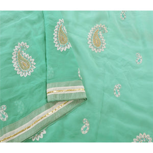 Sanskriti Vintage Sarees Green Georgette Embroidered Fabric Sari Blouse Piece