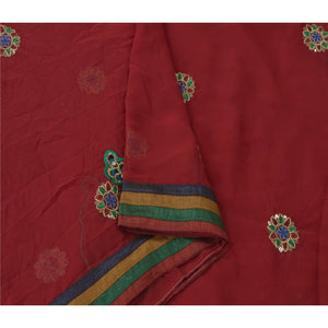 Sanskriti Vintage Fashion Sarees Georgette Embroidered Fabric Sari Blouse Piece