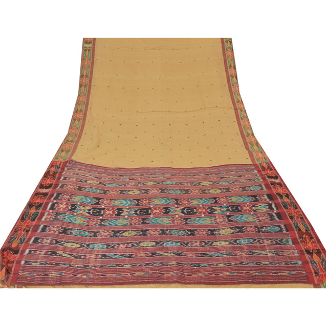 Sanskriti Vintage Saree Ikat Woven Work Patola 5 Yard Sari Fabric Cotton Soft Cream