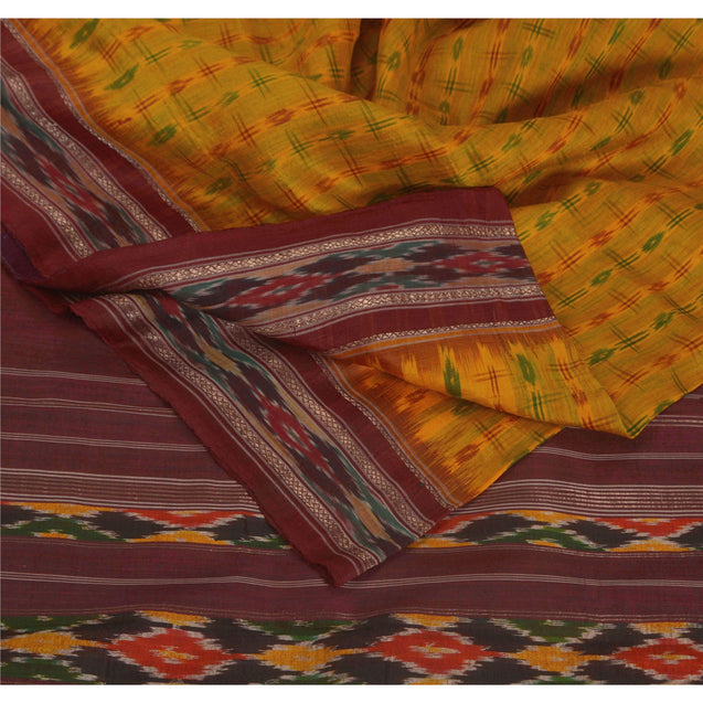 Sanskriti Vintage Yellow Saree Pure Silk Ikat Woven Work Patola Sari Craft Fabric