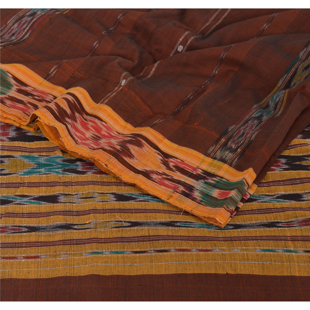 Sanskriti Vintage Saree Ikat Woven Work Patola 5 Yd Sari Craft Fabric Cotton Brown Soft