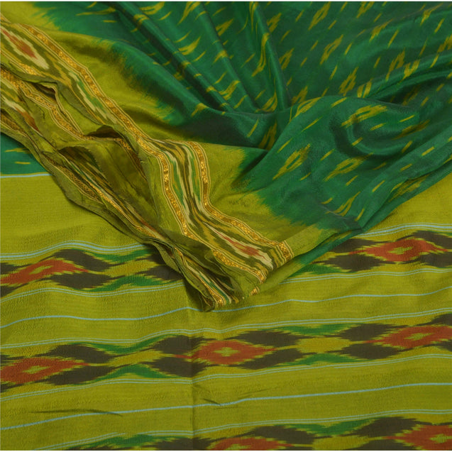 Sanskriti Vintage Green Saree Art Silk Ikat Woven Work Patola Sari Craft 5 Yd Fabric