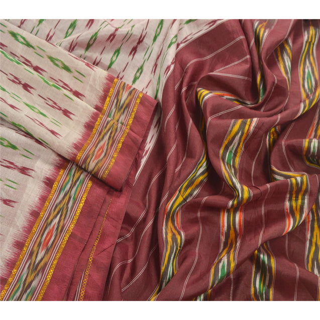 Sanskriti Vintage Cream IKat Woven Work Patola Saree Pure Silk Sari Craft Decor Fabric