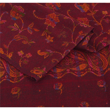 Red Woolen Shawl Woven Work Long Stole Soft Warm Scarf Floral