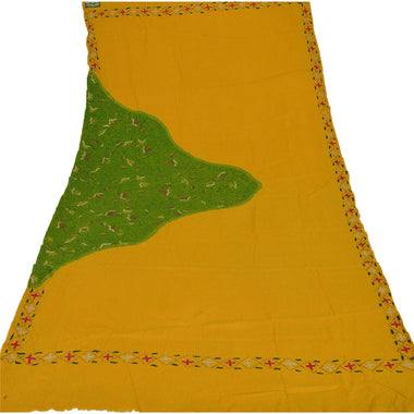 Yellow Woolen Shawl Hand Embroidered Long Stole Soft Scarf