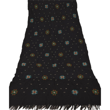 Black Woolen Shawl Hand Embroidered Long Stole Soft Warm Scarf