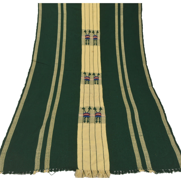 Sanskriti Vintage Green Woolen Shawl Hand Embroidered Woven Long Stole Scarf