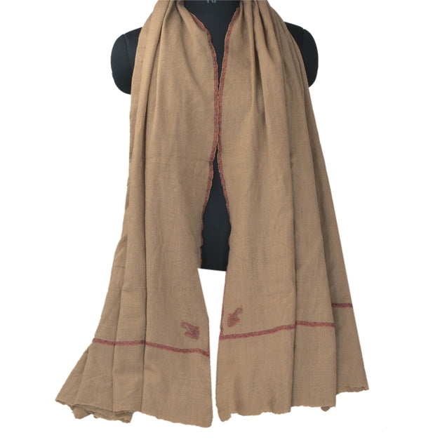 Sanskriti Vintage Brown Woolen Shawl Hand Embroidered Suzani Work Stole Scarf