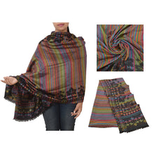 Load image into Gallery viewer, Sanskriti New Wool Blended Shawl Woven Work Long Stole Wrap Soft Scarf 80x29