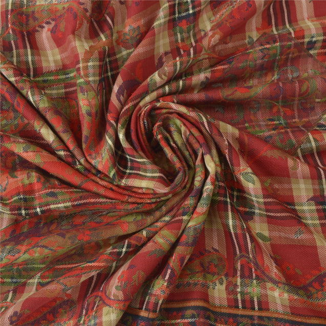 Sanskriti Vintage Red Woolen Shawl Woven Long Stole Throw Soft Paisley Scarf