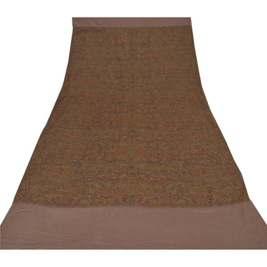 Sanskriti Vintage Brown 100% Pure Woolen Shawl Long Woven Scarf Throw Stole