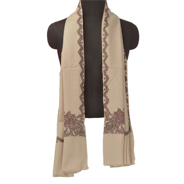 Sanskriti Vintage Cream Pure Woolen Shawl Hand Crafted Suzani Long Throw Stole