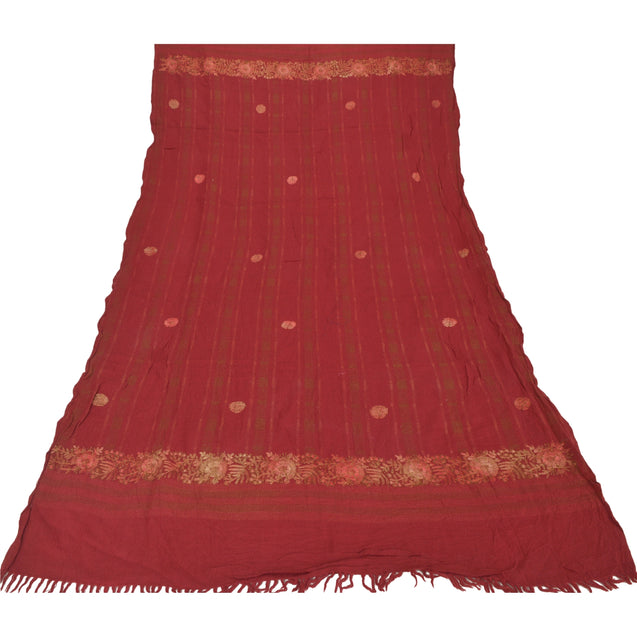Sanskriti Vintage Pure Woolen Shawl Hand Embroidered Woven Long Throw Stole