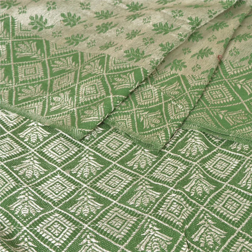 Sanskriti Green Woolen Hand Woven Reversible Shawl Long Stole Throw Scarf