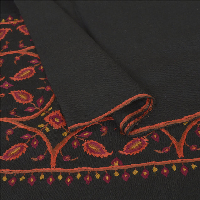 Sanskriti Vintage Black Pure Woolen Shawl Hand Embroidered Long Throw Stole