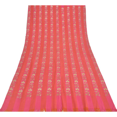 Sanskriti Vintage Peach Pure Woolen Shawl Hand Embroidered Long Throw Stole