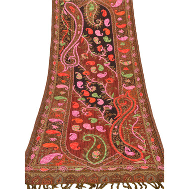 Sanskriti New Hand Embroidered Woven Aari Work Brown Shawl Scarf Viscose Stole