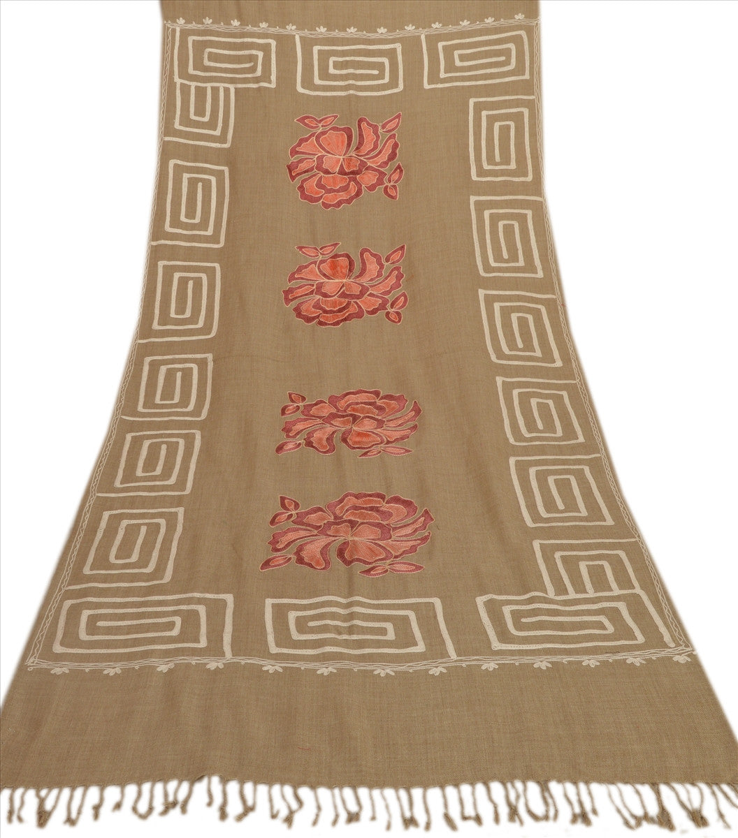 Multi Ari Zama New Hand Embroidered Kashmiri Shawl Scarf Viscose Stole Beige
