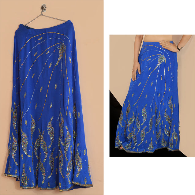 Hand Beaded Lehenga Indian Skirt Blue Party Kundan Sequins
