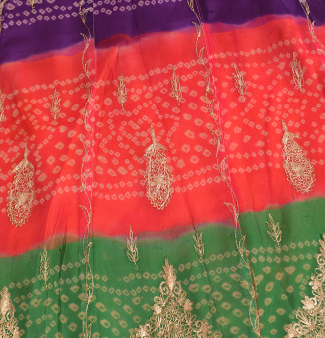 Vintage Indian Bollywood Women Long Skirt Hand Beaded Bandhani L Size Lehenga