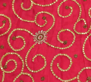 Vintage Indian Bollywood Women Long Skirt Hand Beaded Pink S Size Lehenga