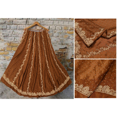 Brown Long Skirt Pure Satin Silk Hand Embroidered Unstitched