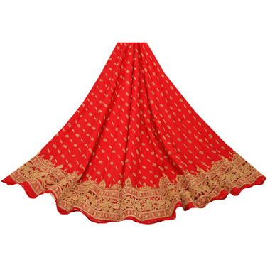 Red Long Skirt Pure Silk Hand Beaded Ethnic Unstitched Lehenga