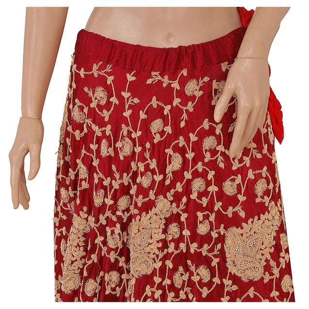 Long Skirt Pure Satin Silk Hand Embroidered Stitched Lehenga