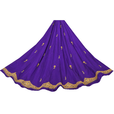 Blue Long Skirt Pure Silk Hand Beads Ethnic Unstitched Lehenga