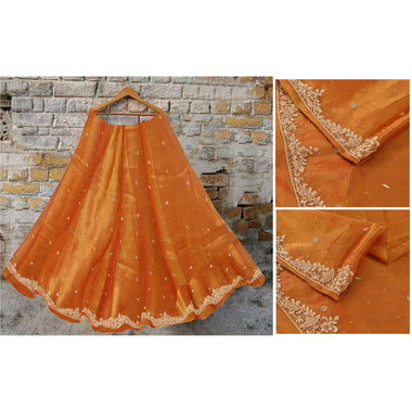 Saffron Long Skirt Pure Tissue Hand Beaded Unstitched Lehenga