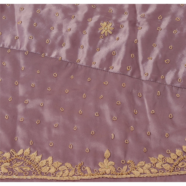 Purple Long Skirt Pure Satin Silk Hand Bead Unstitched Lehenga