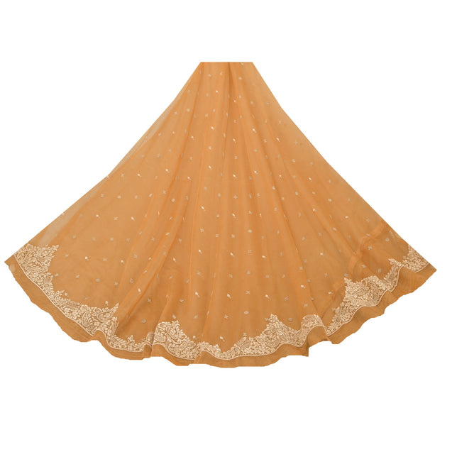 Saffron Long Skirt Net Mesh Hand Beads Unstitched Zari Lehenga