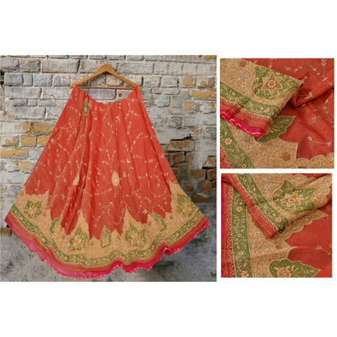 Long Skirt Pure Organza Hand Embroidered Unstitched Lehenga