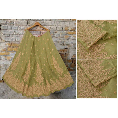Green Long Skirt Net Mesh Hand Embroidered Unstitched Lehenga