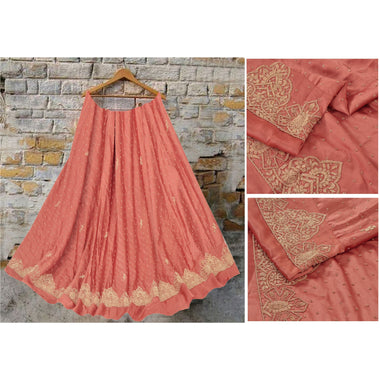 Long Skirt Pure Satin Silk Hand Embroidery Unstitched Lehenga