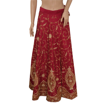 Red Long Skirt Pure Silk Hand Embroidery Zari Stitched Lehenga