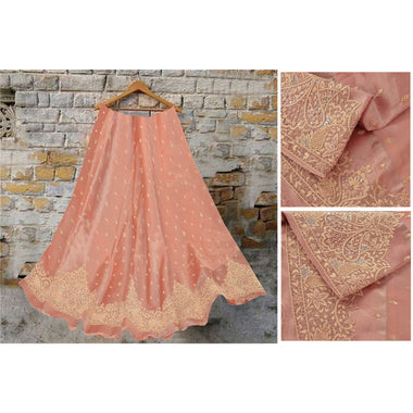 Long Skirt Pure Tissue Silk Hand Embroidery Unstitched Lehenga