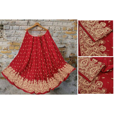 Red Long Skirt Pure Satin Hand Embroidered Unstitched Lehenga