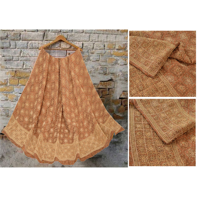 Peach Long Skirt Pure Tissue Silk Hand Bead Unstitched Lehenga