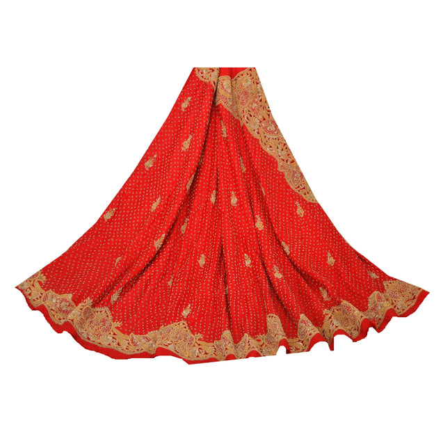 Red Long Skirt Pure Silk Hand Embroidered Unstitched Lehenga